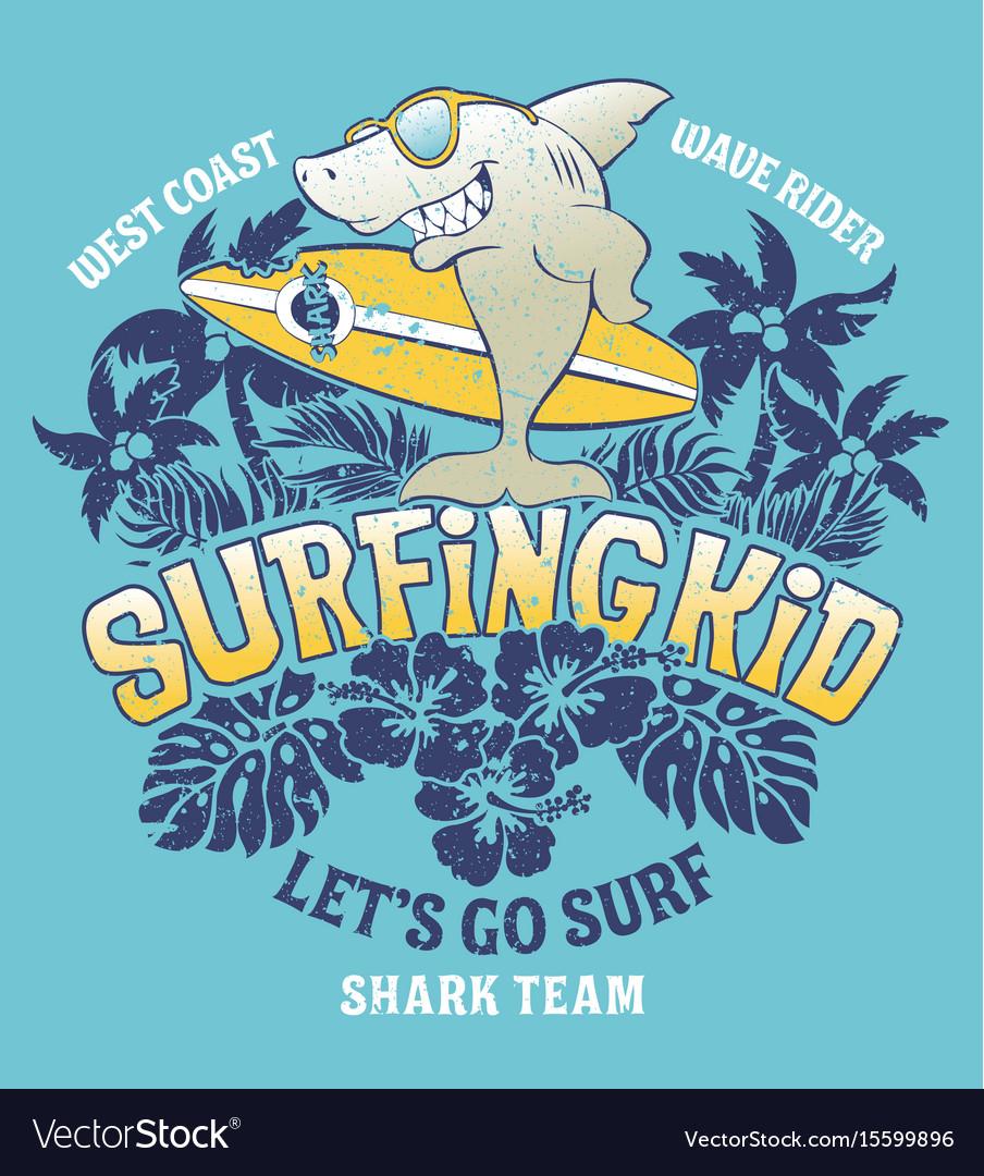 Shark surfing kid team vector image