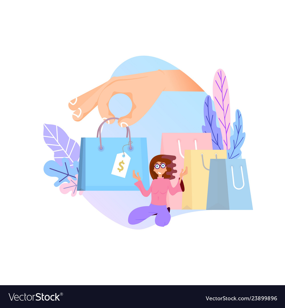 58930532d7d Shopping online concept flat design tiny woman Vector Image
