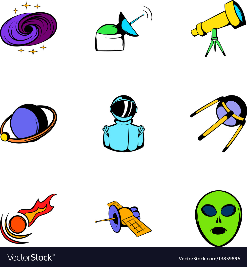 Space icons set cartoon style