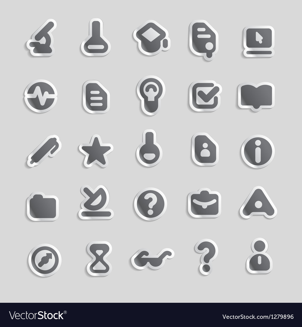 Sticker icons for education vector image