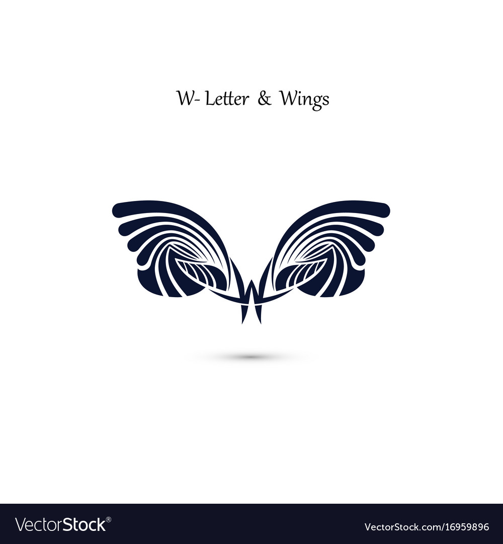 W letter sign and angel wings monogram wing logo