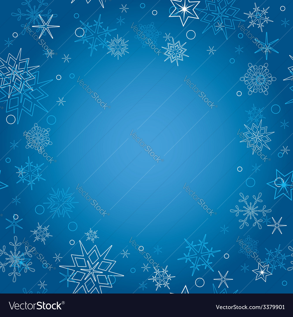 background blue christmas card with snowflakes vector image