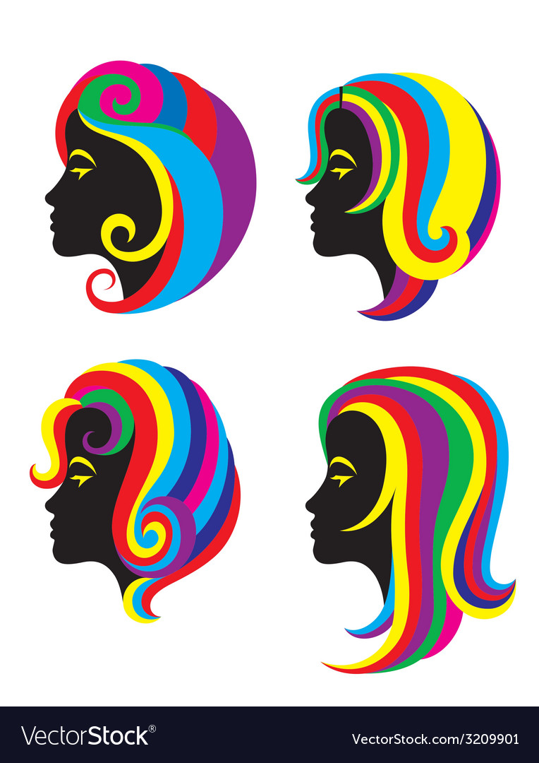 Beauty Rainbow Hair Woman