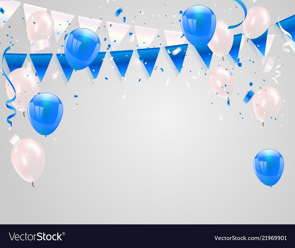Blue white balloons confetti concept design