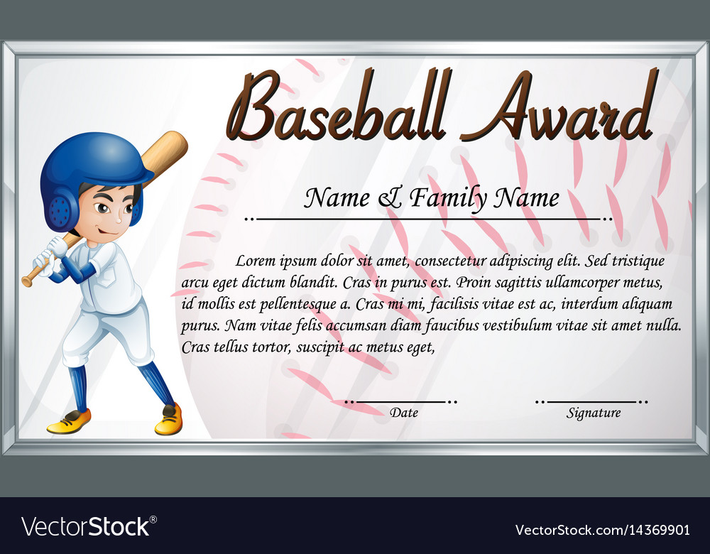 Certificate template for baseball award with vector image