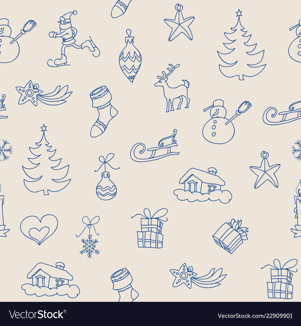 Christmas symbols seamless pattern outline icons