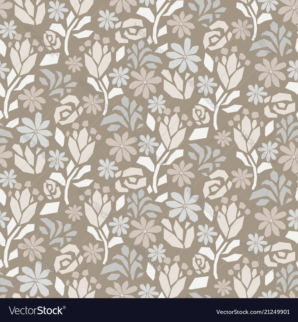 Cutout Paper Flower Gray Beige Seamless Royalty Free Vector