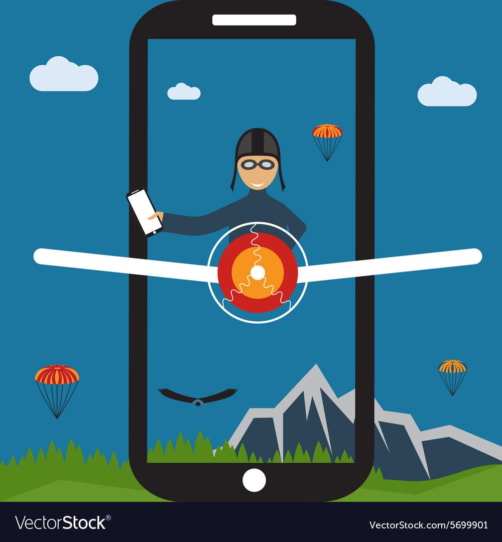 Extreme selfie pilot flat design