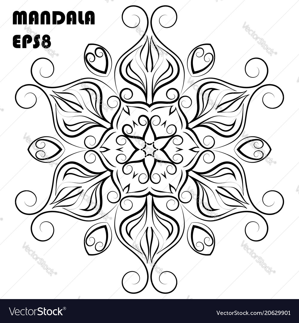Flower mandala coloring book element Royalty Free Vector