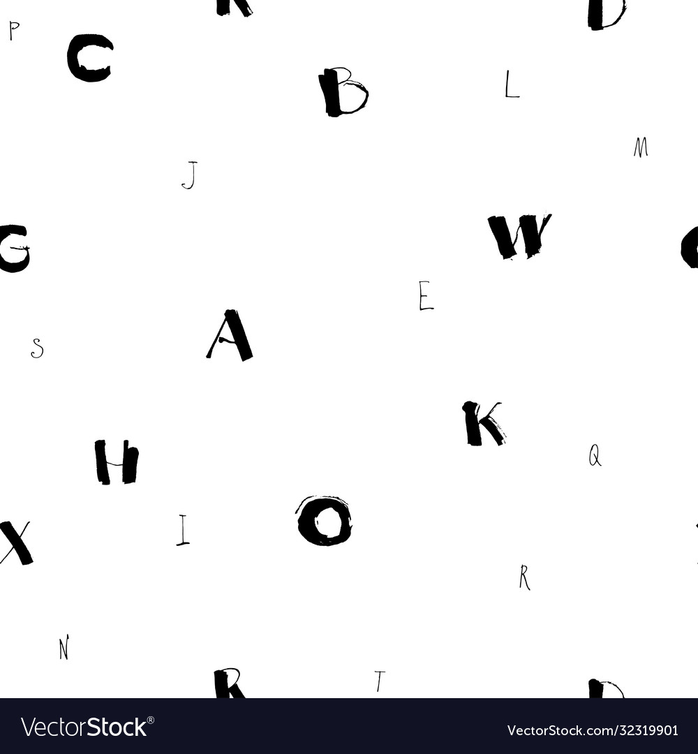 Flying letters seamless hand drawn pattern black