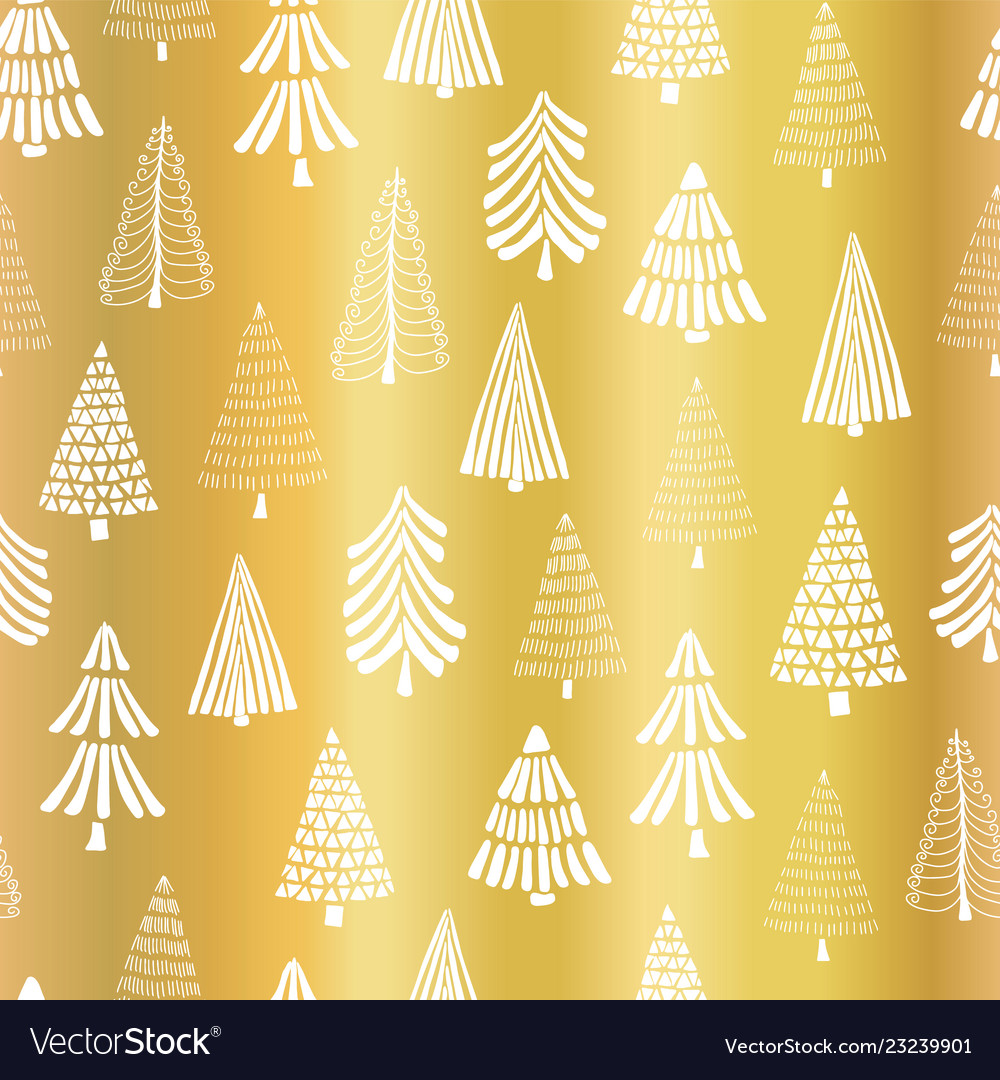 Foil Christmas Tree.Gold Foil Christmas Tree Seamless Pattern