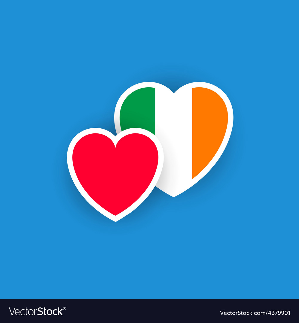 Irish flag in the shape of heart