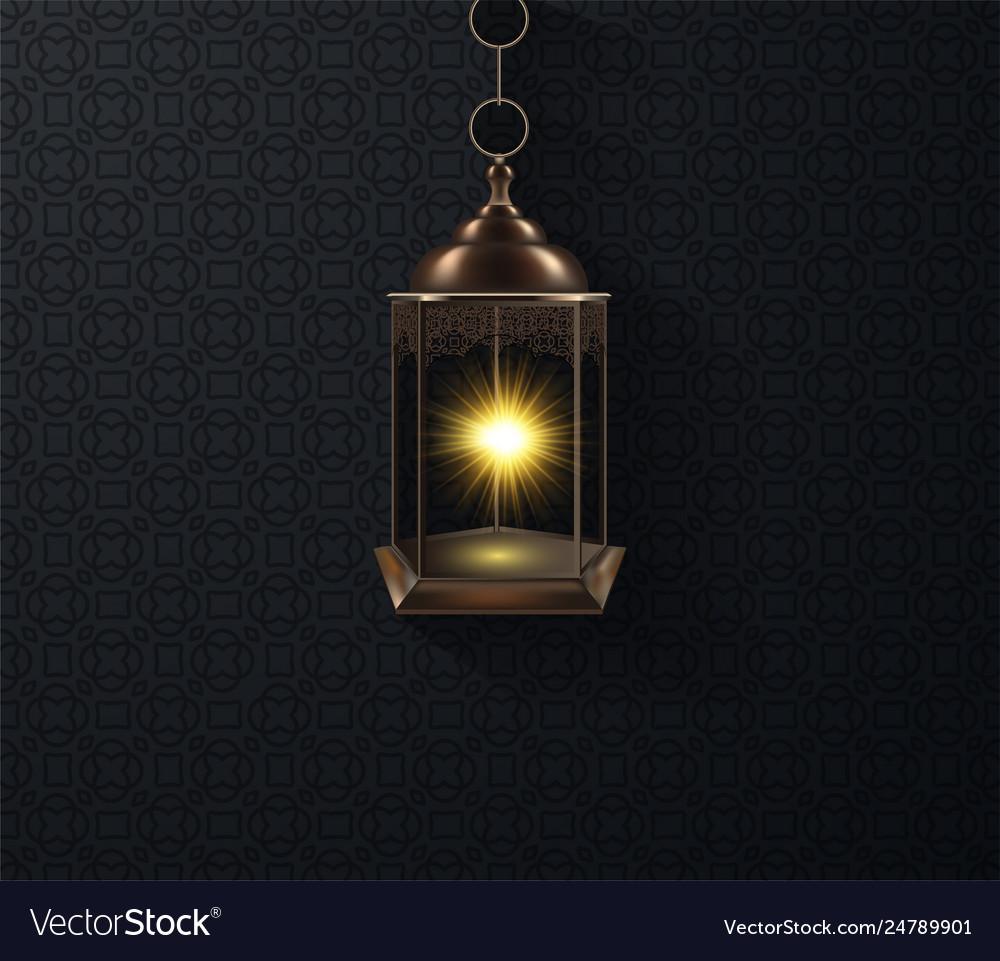 Ornamental arabic lantern glowing at night
