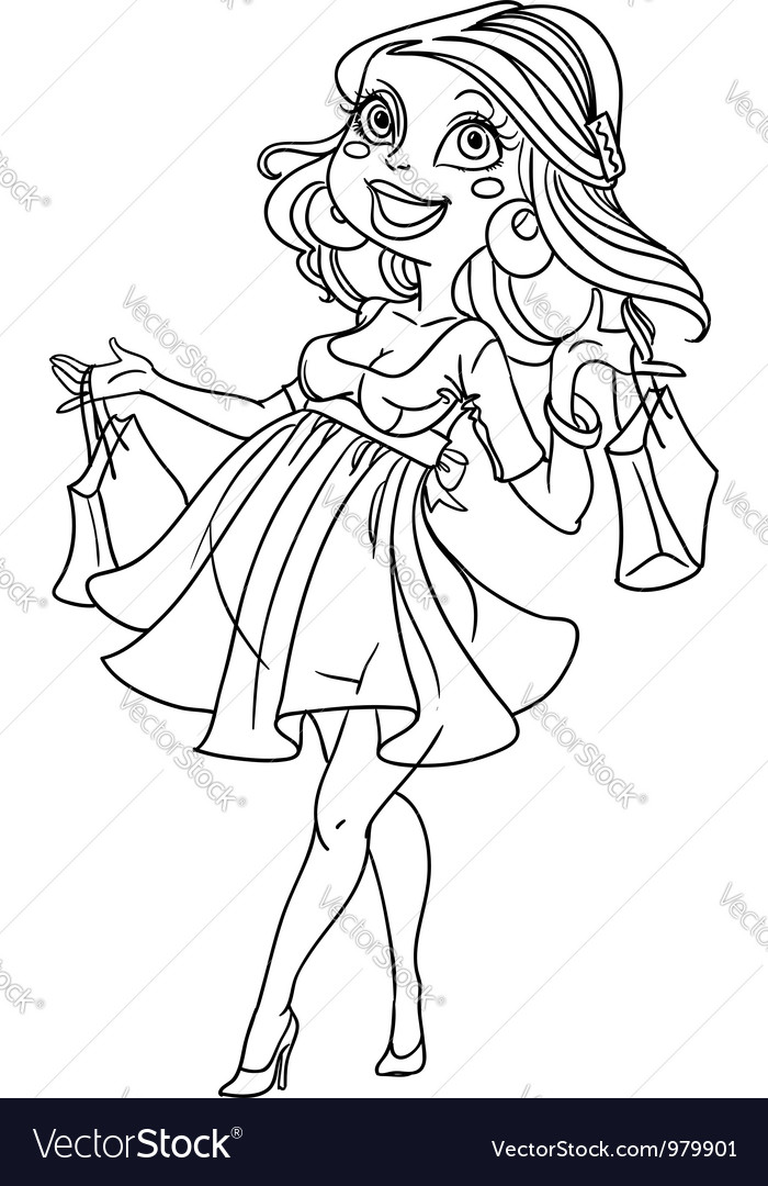 Pretty pregnant shopping woman in black outline vector image