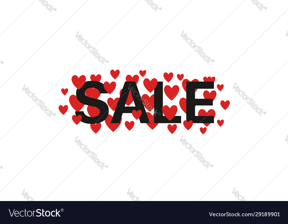 Sale text with red hearts
