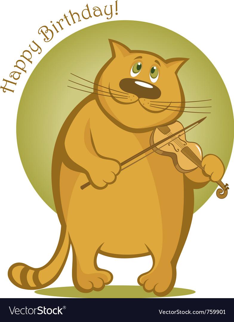 Smiling cat playing violin