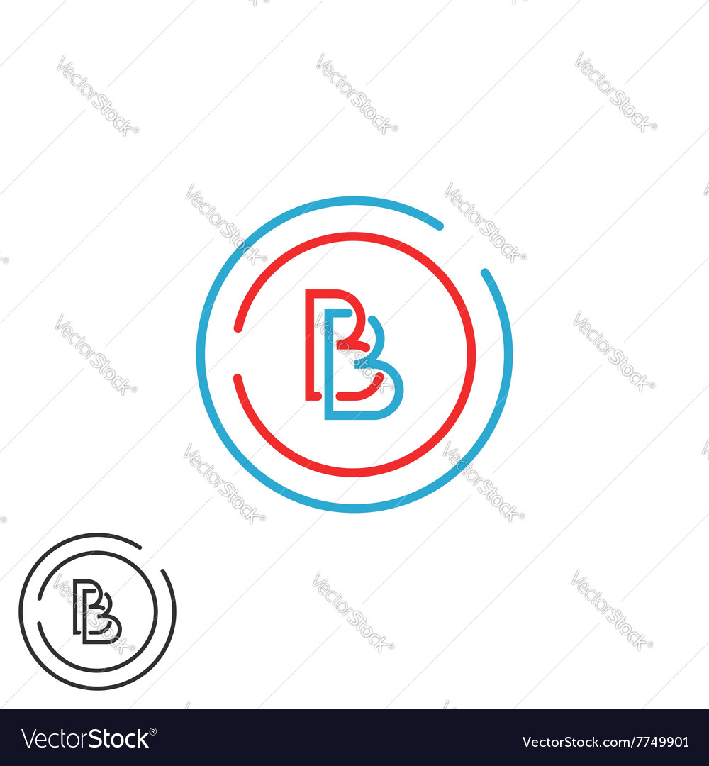 Two letter B logo monogram bb overlapping symbol vector image