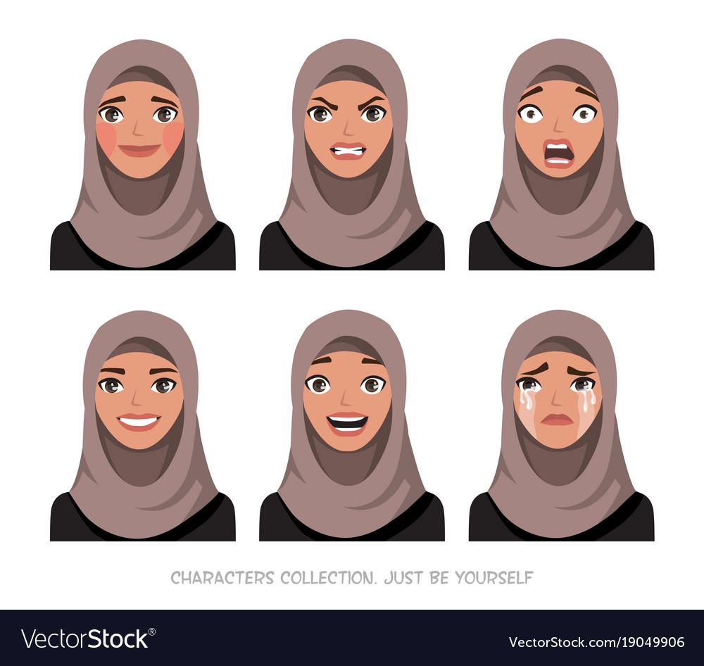 Arab women character set of emotions