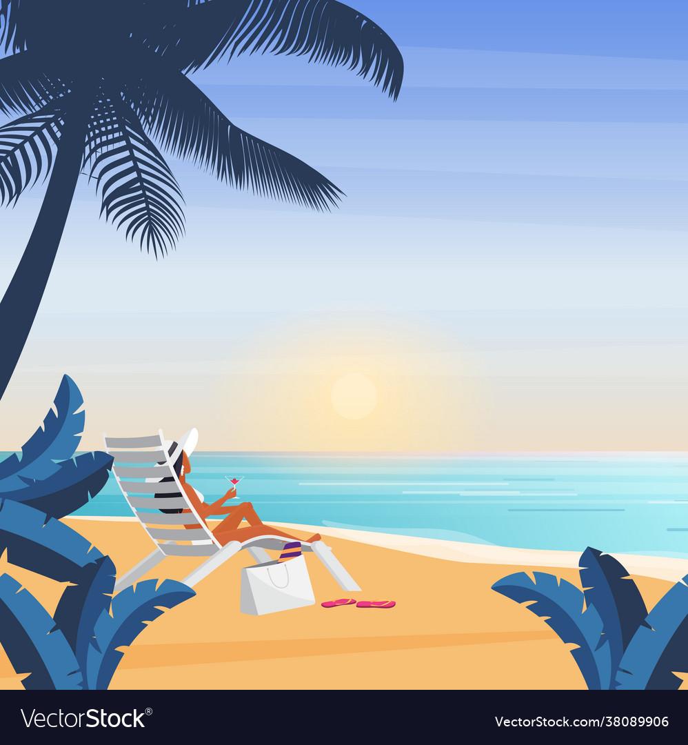Bikini girl lying on deckchair sea beach tropical