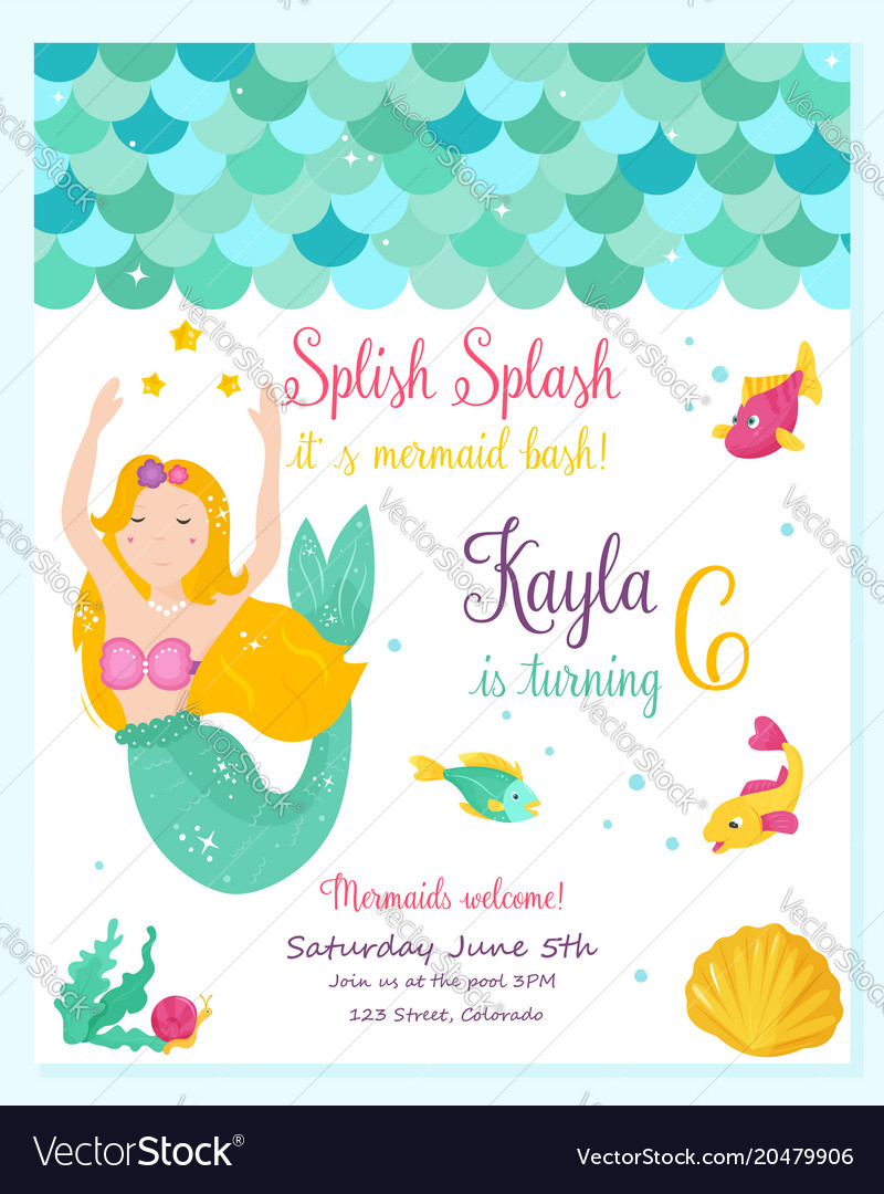 Bright invitation card with cute fairy mermaid vector image stopboris