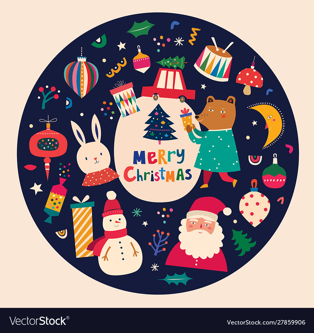 Christmas decorative in vintage style with funny