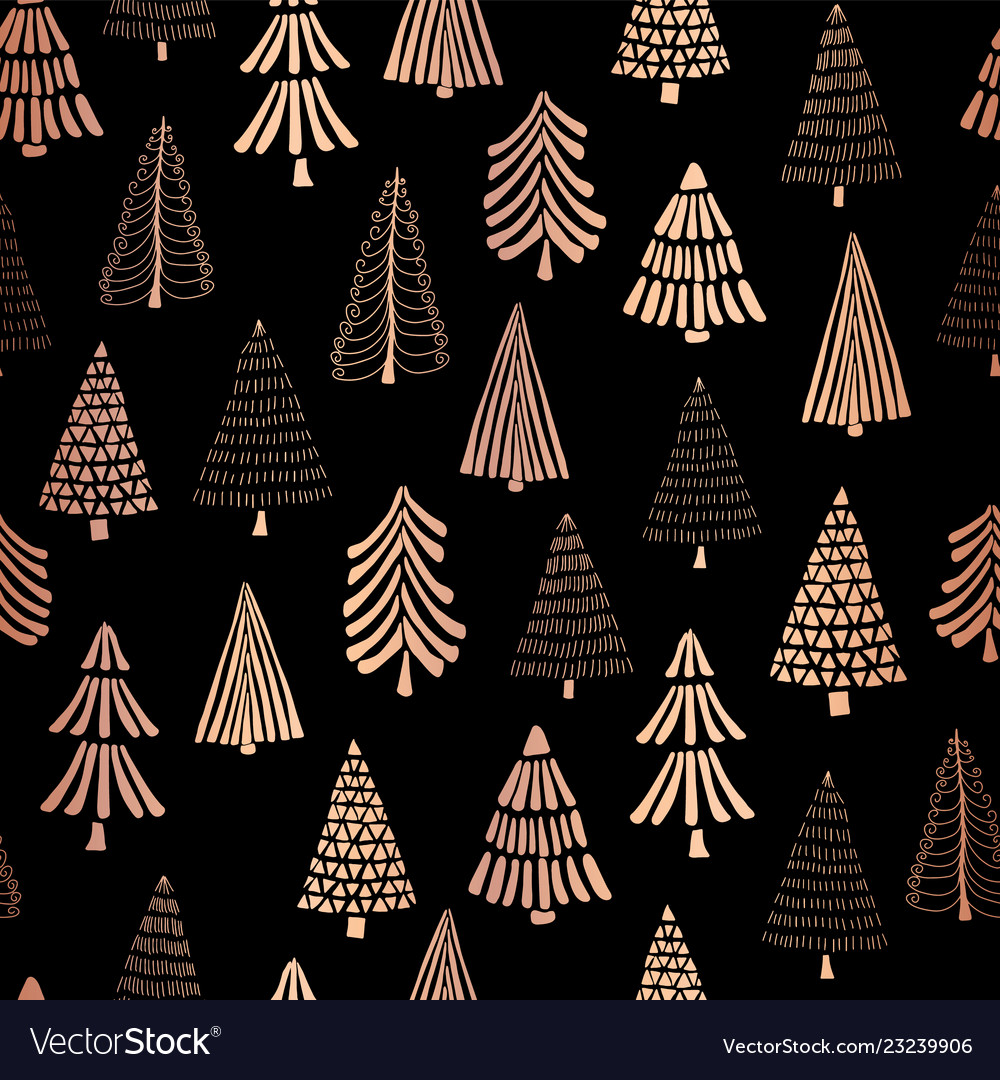 Christmas Tree Copper Foil Seamless Pattern Vector Image