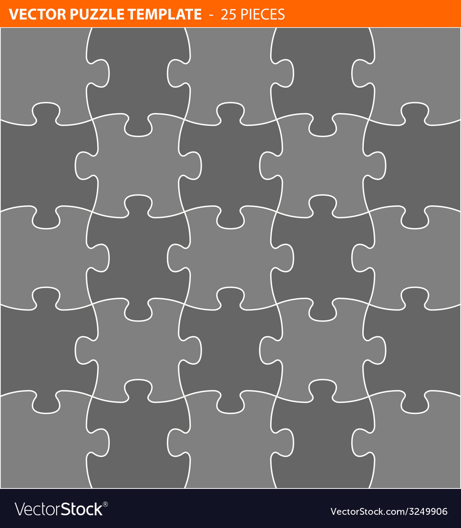 Complete puzzle jigsaw template Royalty Free Vector Image
