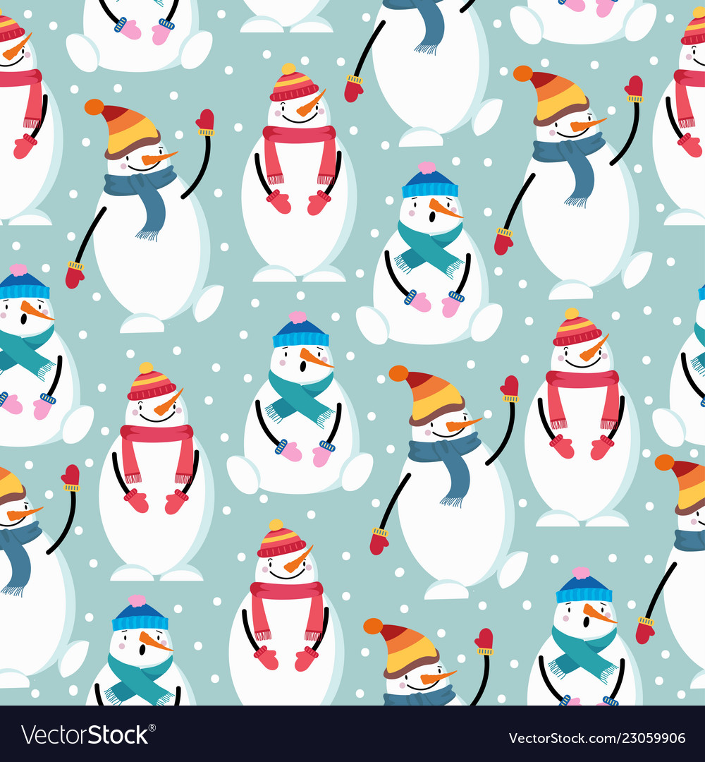 Cute flat design christmas seamless pattern with