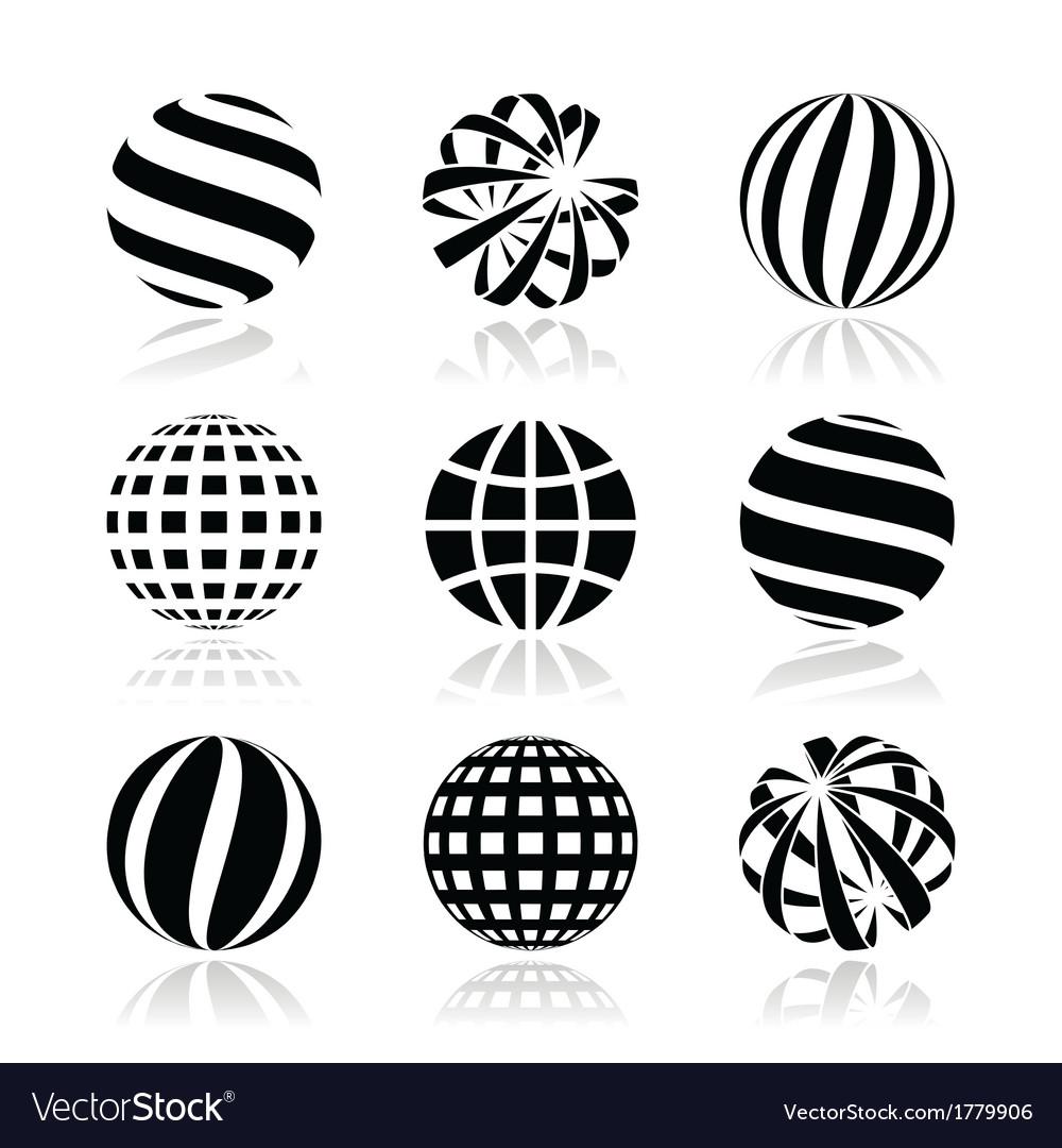 Globe sphere earth icons set
