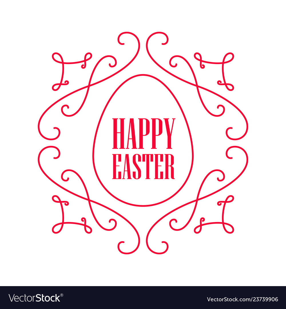 Happy easter - festive card with floral line art