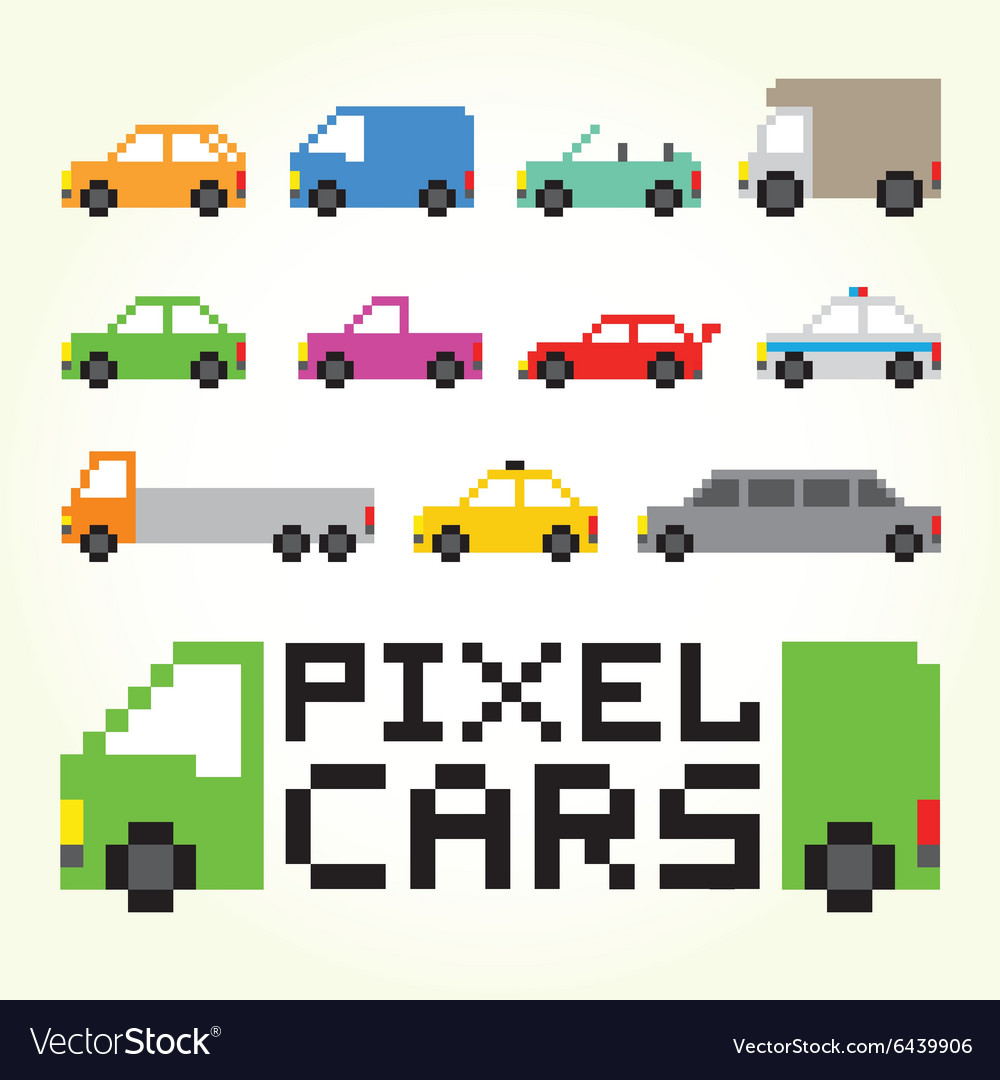 Pixel Art Cars Isolated Set