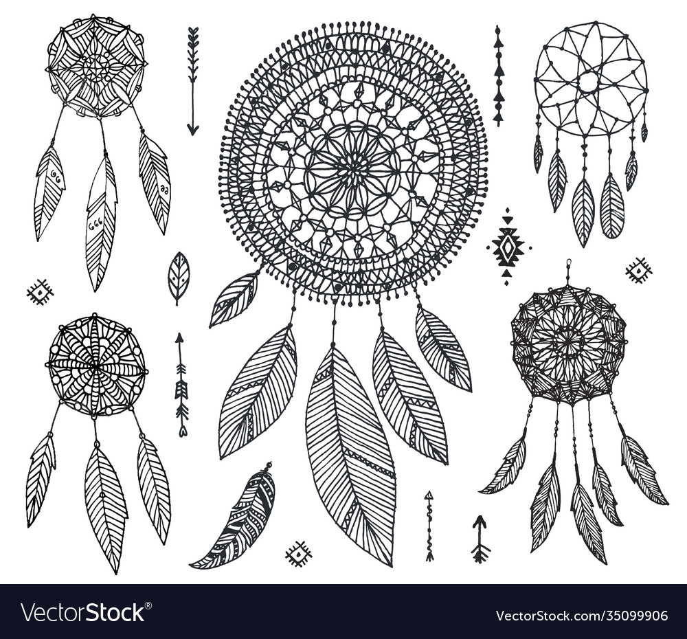 Set hand drawn dream catchers isolated