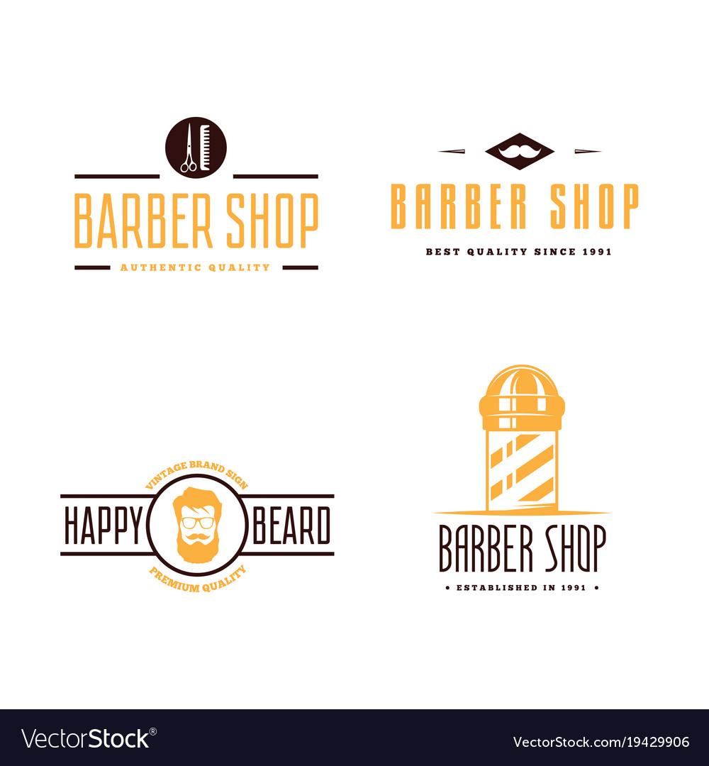Set of vintage barber shop logo labels badges