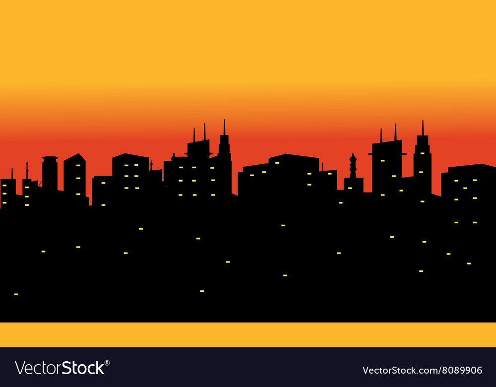Silhouette of city at the night
