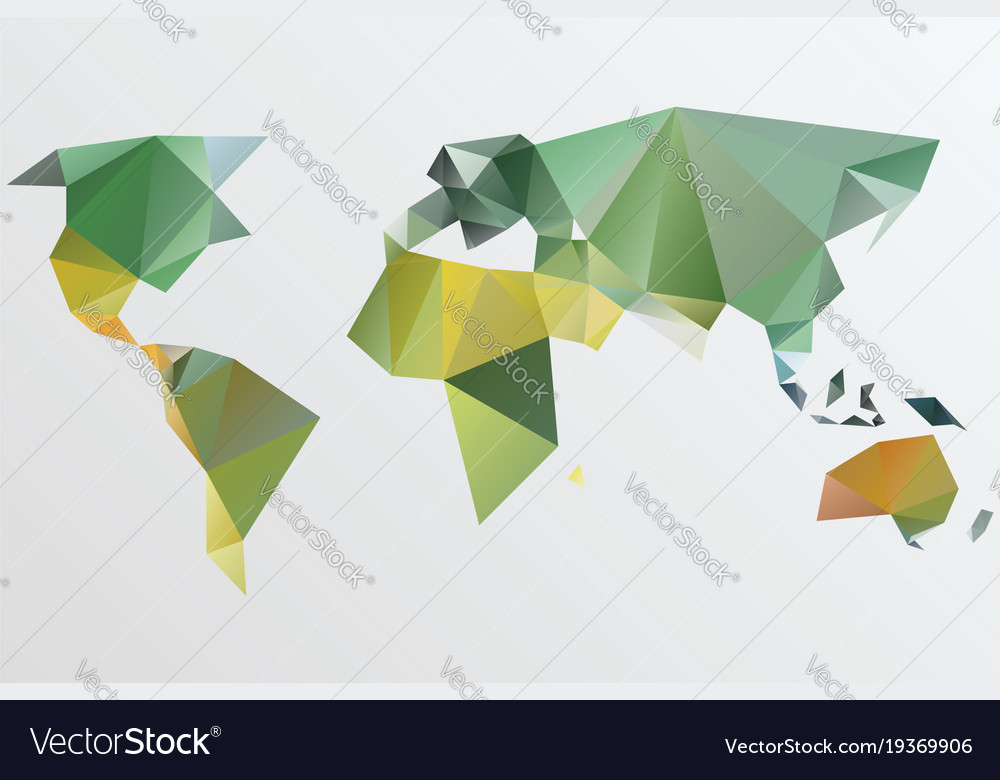 Triangle world map stylize vector image