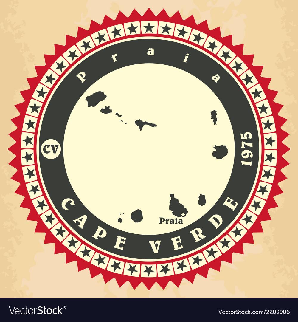 Vintage label-sticker cards of Cape Verde vector image