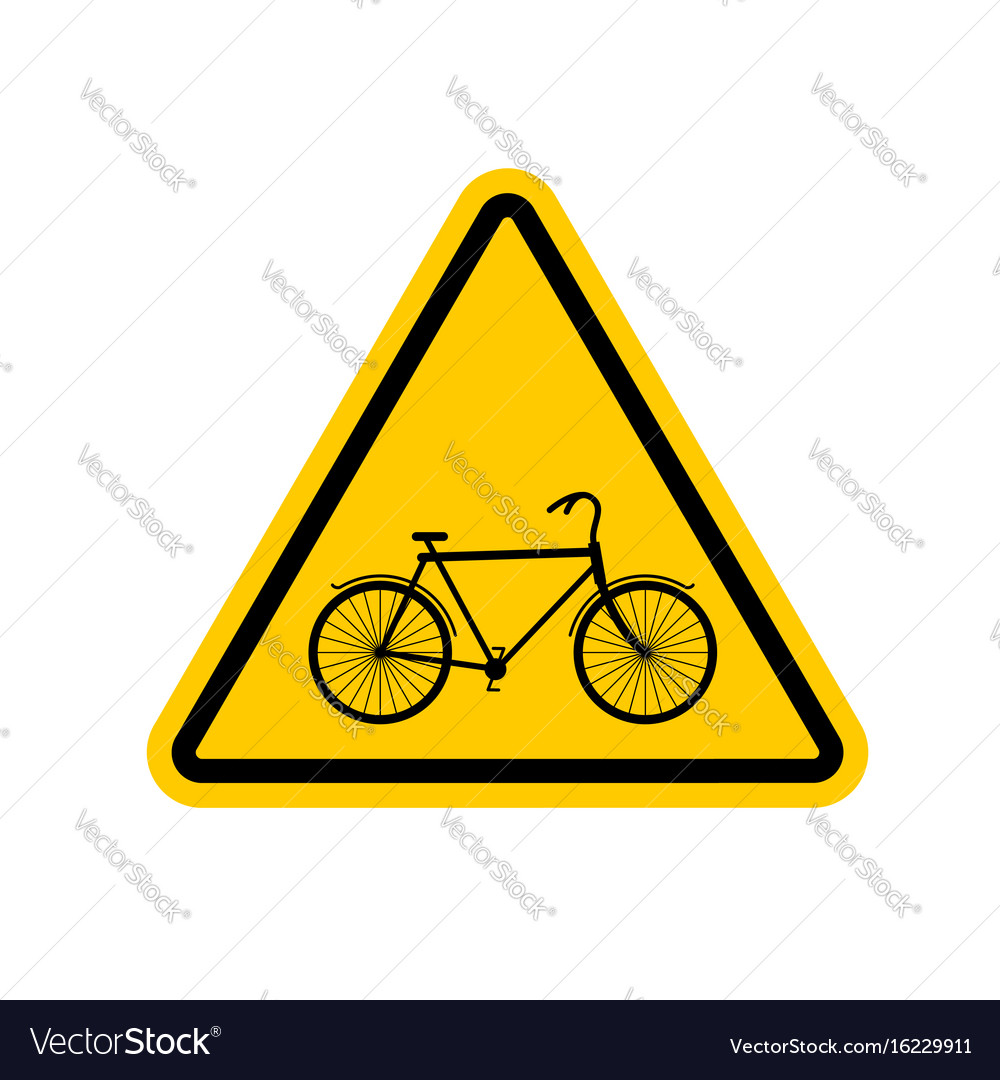 Attention cyclist bicycle on yellow triangle road
