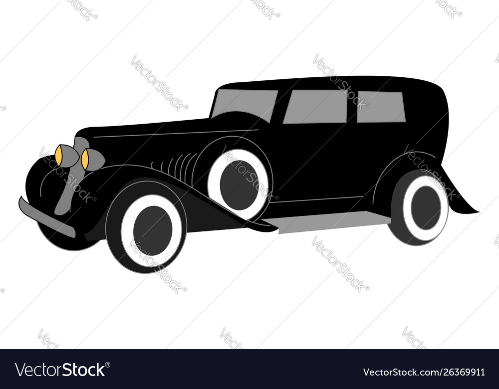 Black old retro car on white background