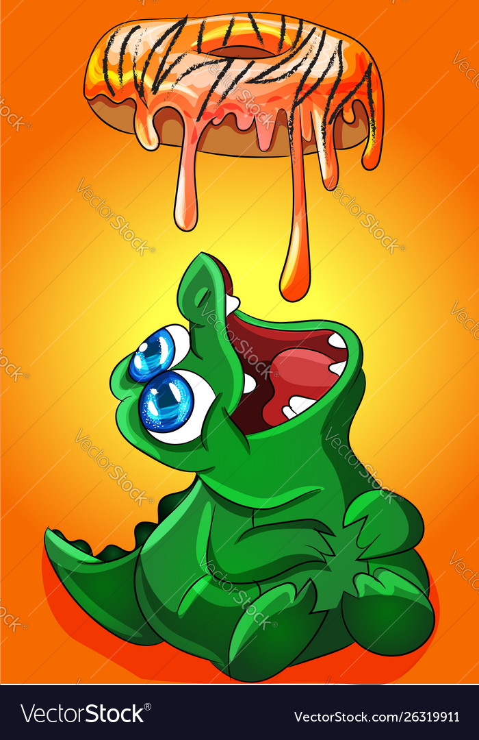 Crocodile eating donut frosting that melts