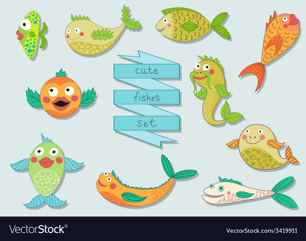 Cute cartoon sea fishes set