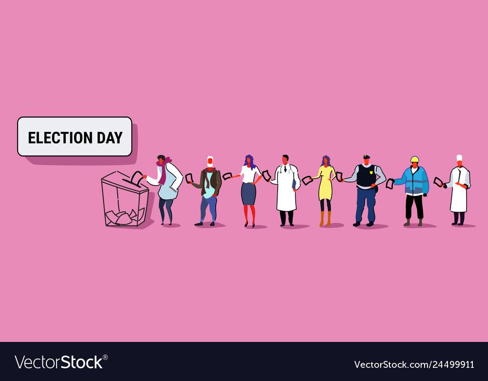 Election day concept different occupations voters