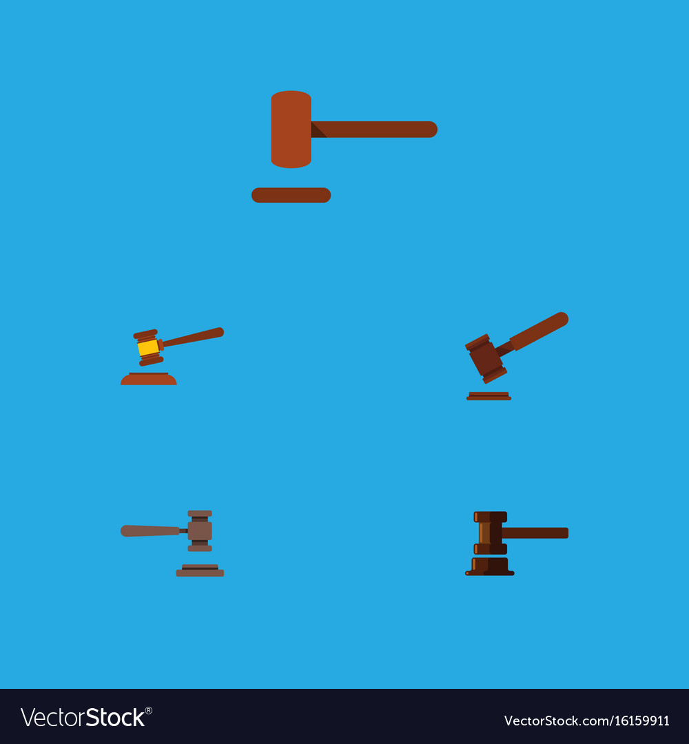 Flat icon court set of hammer legal defense and