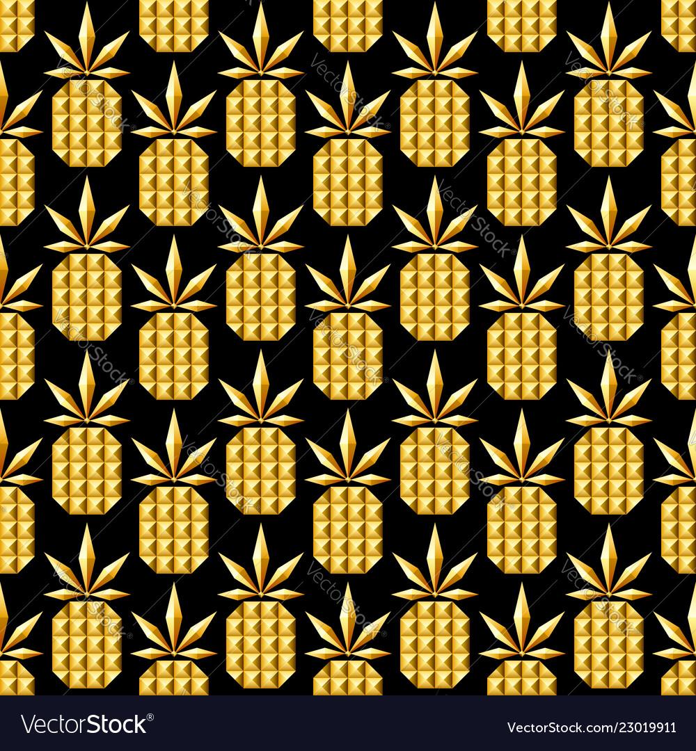Golden jewelry pineapple seamless pattern