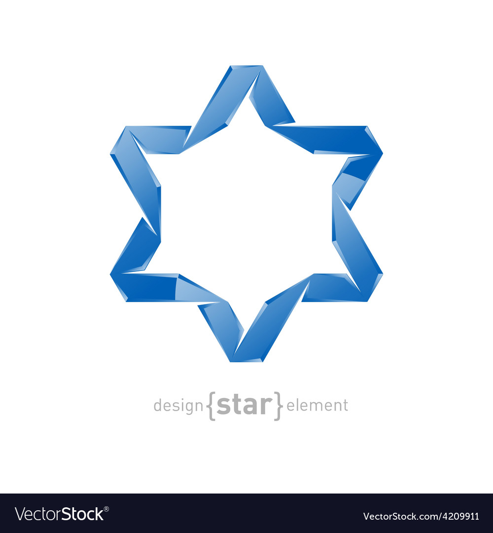Ice star of David on white background vector image