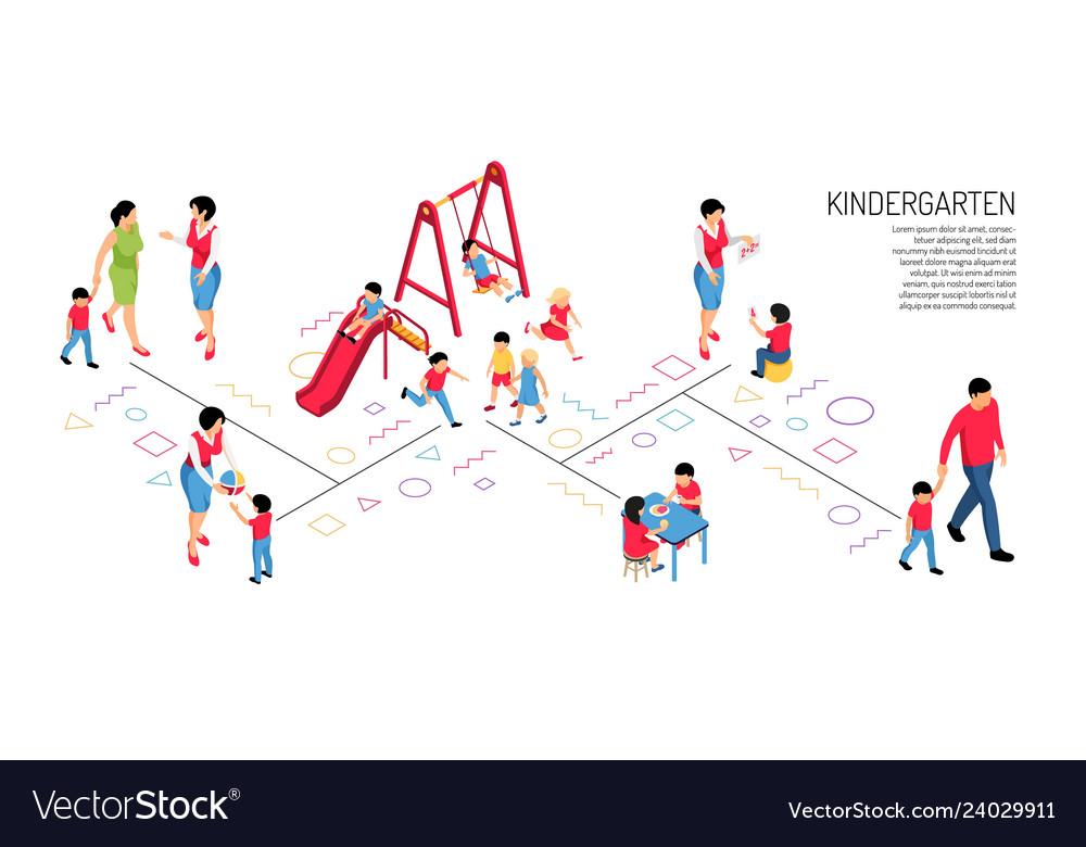 Kindergarten isometric horizontal