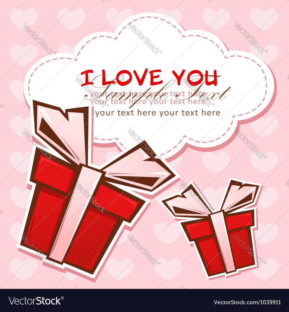 Love invitation card with colorful gift boxes