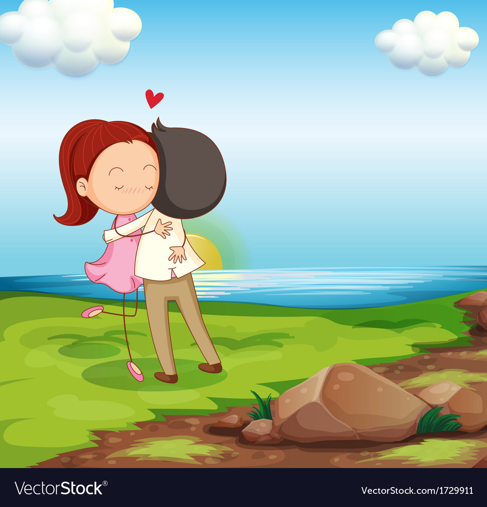 Lovers Dating At The Riverbank Royalty Free Vector Image