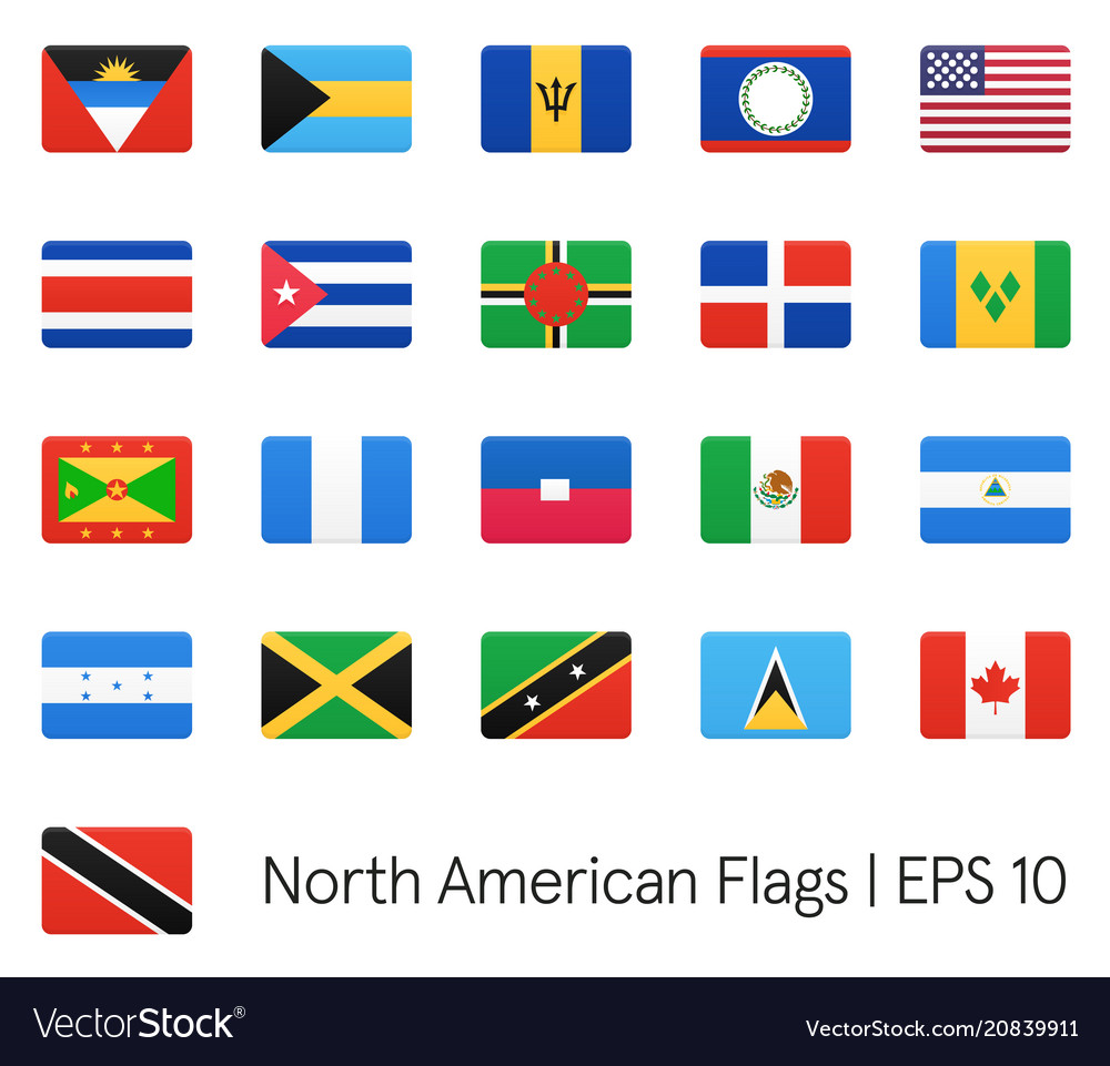 North american flags icons set