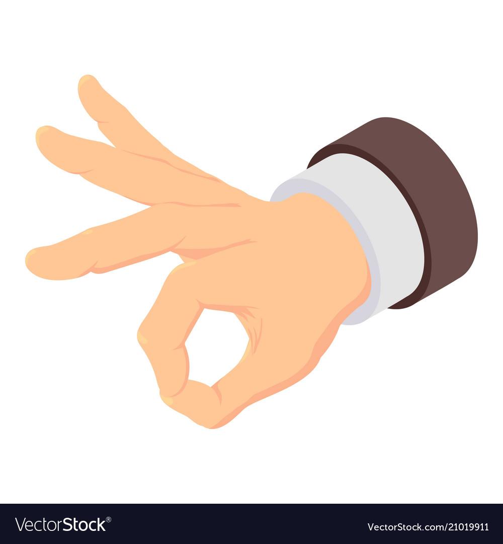 Ok hand sign icon isometric style