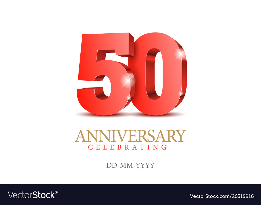 Anniversary 50 red 3d numbers